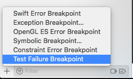 XCode Test Failure Breakpoint
